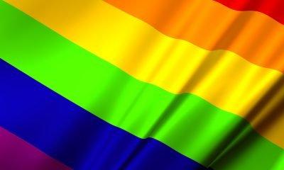 Wehende Regenbogenflagge