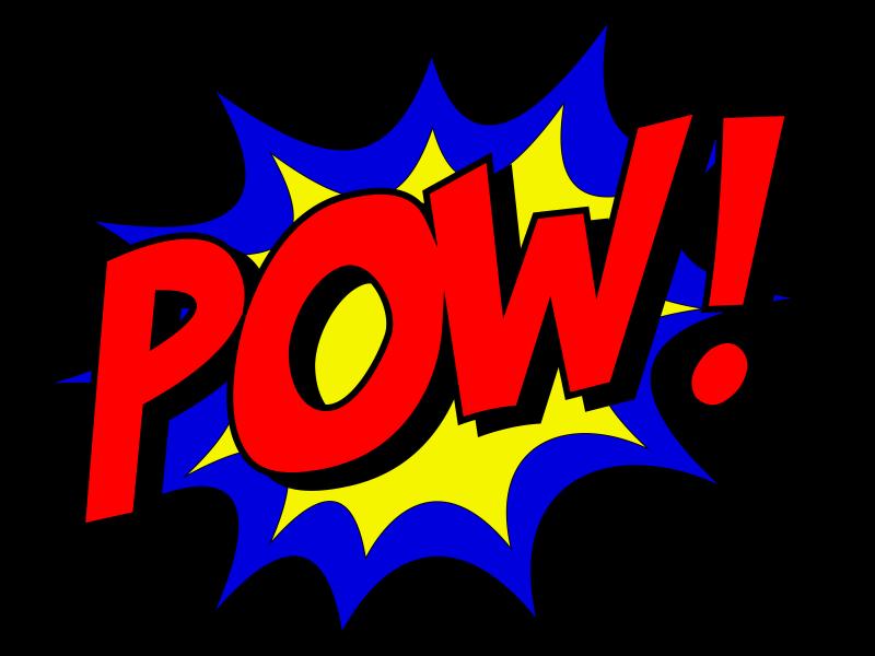 """bunter Comic-Schriftzug """"Pow!"""""""