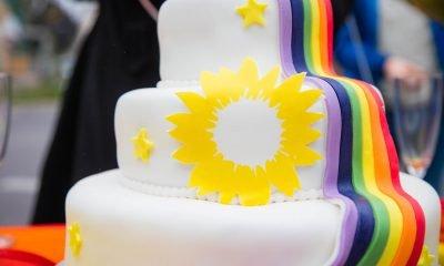 Auf dem Bild ist eine Regenbogentorte mit einer Sonnenblume zu sehen.