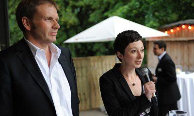 Auf dem Bild sind Volker Ratzmann und Ramona Pop zu sehen.