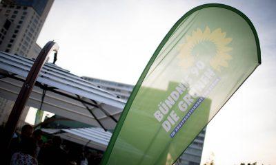 Auf dem Bild ist eine Beachflag der Abgeordnetenhausfraktion von Bündnis 90/Die Grünen zu sehen.