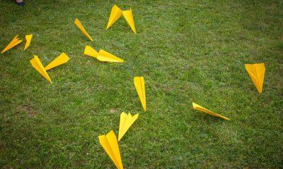 Auf dem Bild sind gelbe Papierflieger zu sehen, die auf dem Rasen liegen.