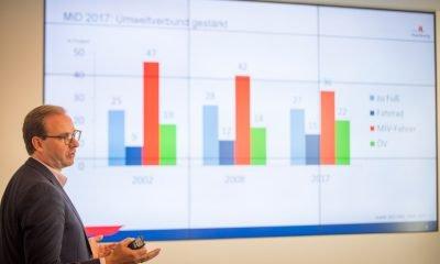 Auf dem Bild ist ein Mann zu sehen, der einen Vortrag hält. Im Hintergrund ist seine Präsentation zu sehen.