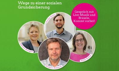 """Es ist die Einladung zur Veranstaltung """"Was machen wir aus Hartz IV?"""" mit Fotos von Silke Gebel, Robert Habeck, Sabine Bangert und Stefan Ziller zu sehen"""