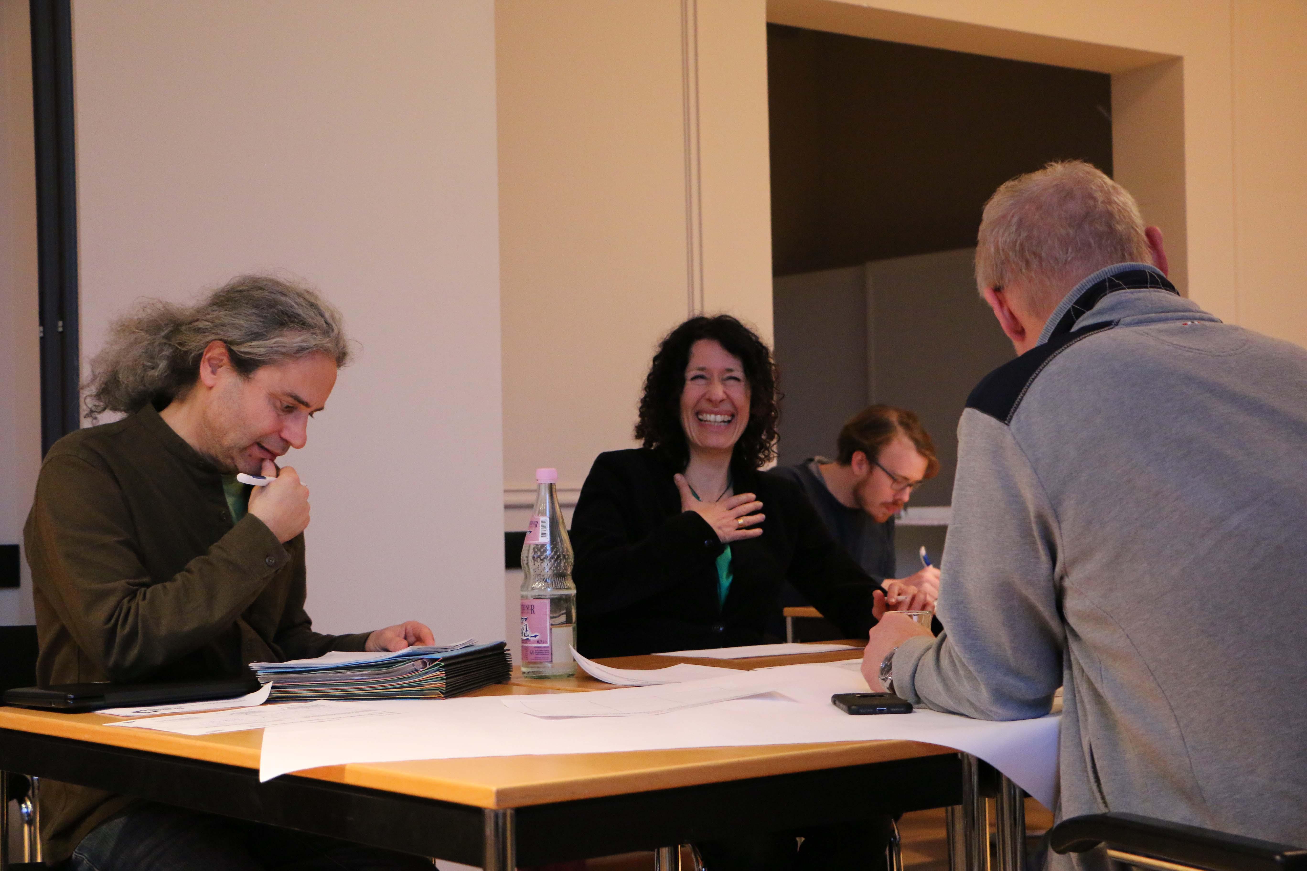 Turgut Altug, Bettina Jarasch und Olaf Reimann tauschen sich aus und stimmen sich gemeinsam mit der Fraktion auf das Jahr 2019 ein