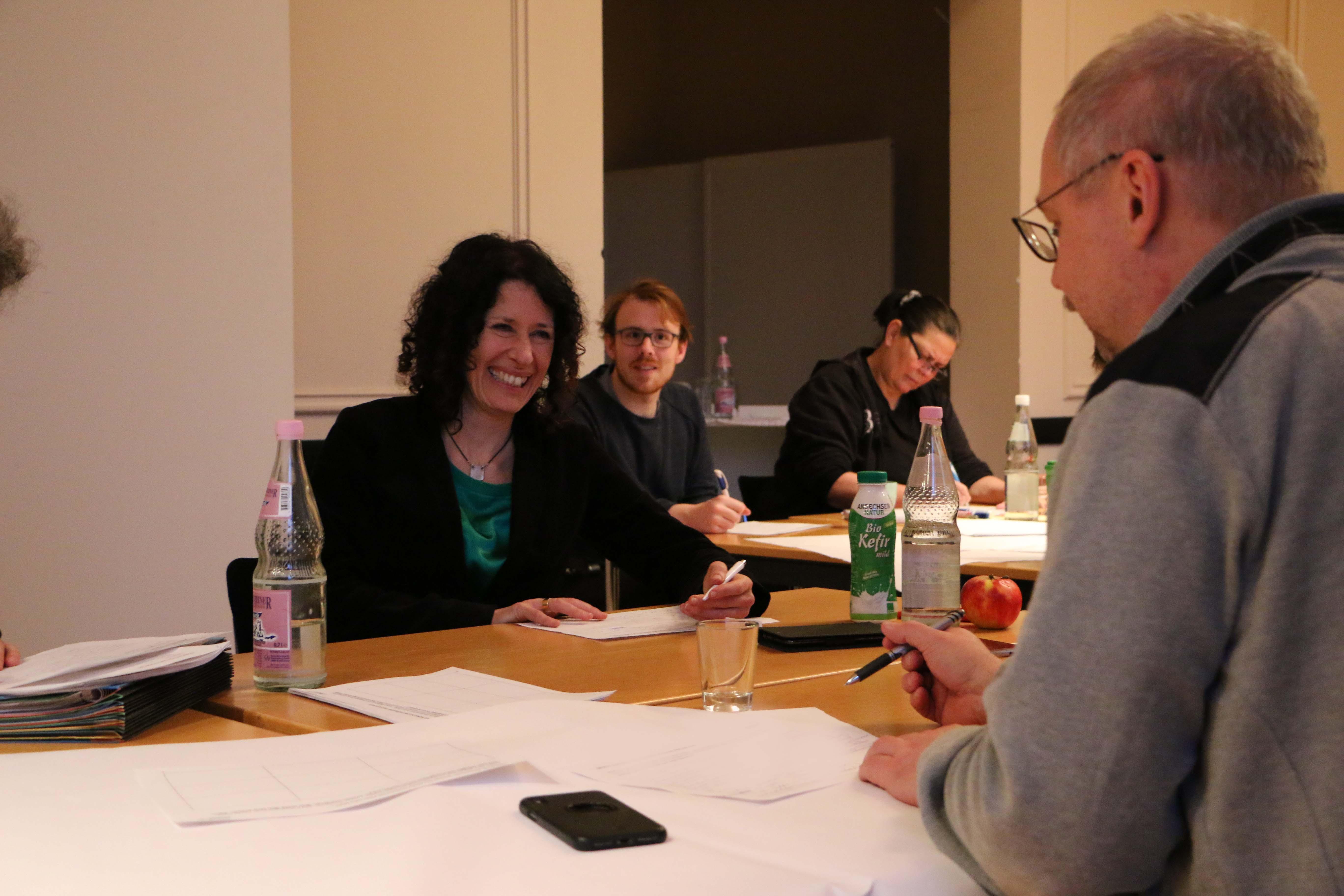 Bettina Jarasch und Olaf Reimann tauschen sich aus und stimmen sich gemeinsam mit der Fraktion auf das Jahr 2019 ein