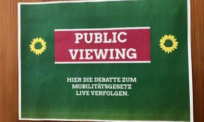 """Es ist ein grünes Schild mit der Aufschrift """"Public Viewing"""" zu sehen"""