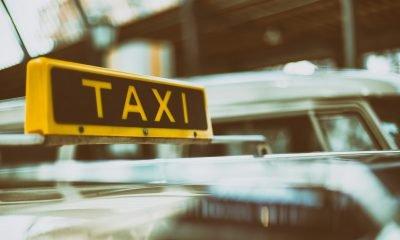Es ist ein gelbes Taxi-Schild eines Berliner Taxis zu sehen
