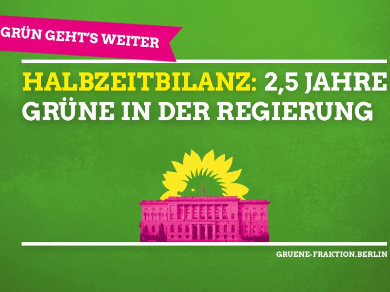 Es ist ein grüber Flyer zur Halbzeitbilanz der Grünen Fraktion im Berliner Abgeordnetenhaus zu sehen