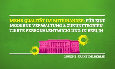 Es ist ein grüner Flyer zum Thema Verwaltungsmodernisierung zu sehen