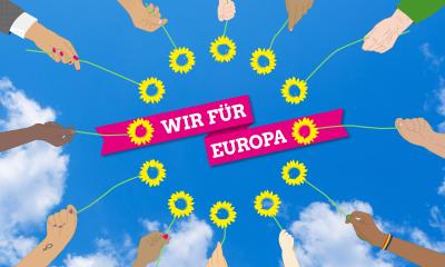 """Auf dem Bild sind Blumen im Kreis zum Symbol für Europa angeordnet. Die Blumen werden von unterschiedlichsten Personen in die Luft gehalten. Über dem Kreis aus Blumen steht """"Wir für Europa"""""""