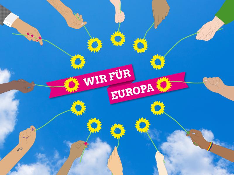 """Auf dem Bild sind Blumen im Kreis zum Symbol für Europa angeordnet. Die Blumen werden von unterschiedlichsten Personen in die Luft gehalten. Über dem Kreis aus Blumen steht """"Wir für Europa""""."""
