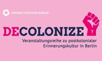 Es ist ein Flyer zu sehen für unsere Veranstaltungsreihe zu postkolonialer Erinnerungskultur in Berlin