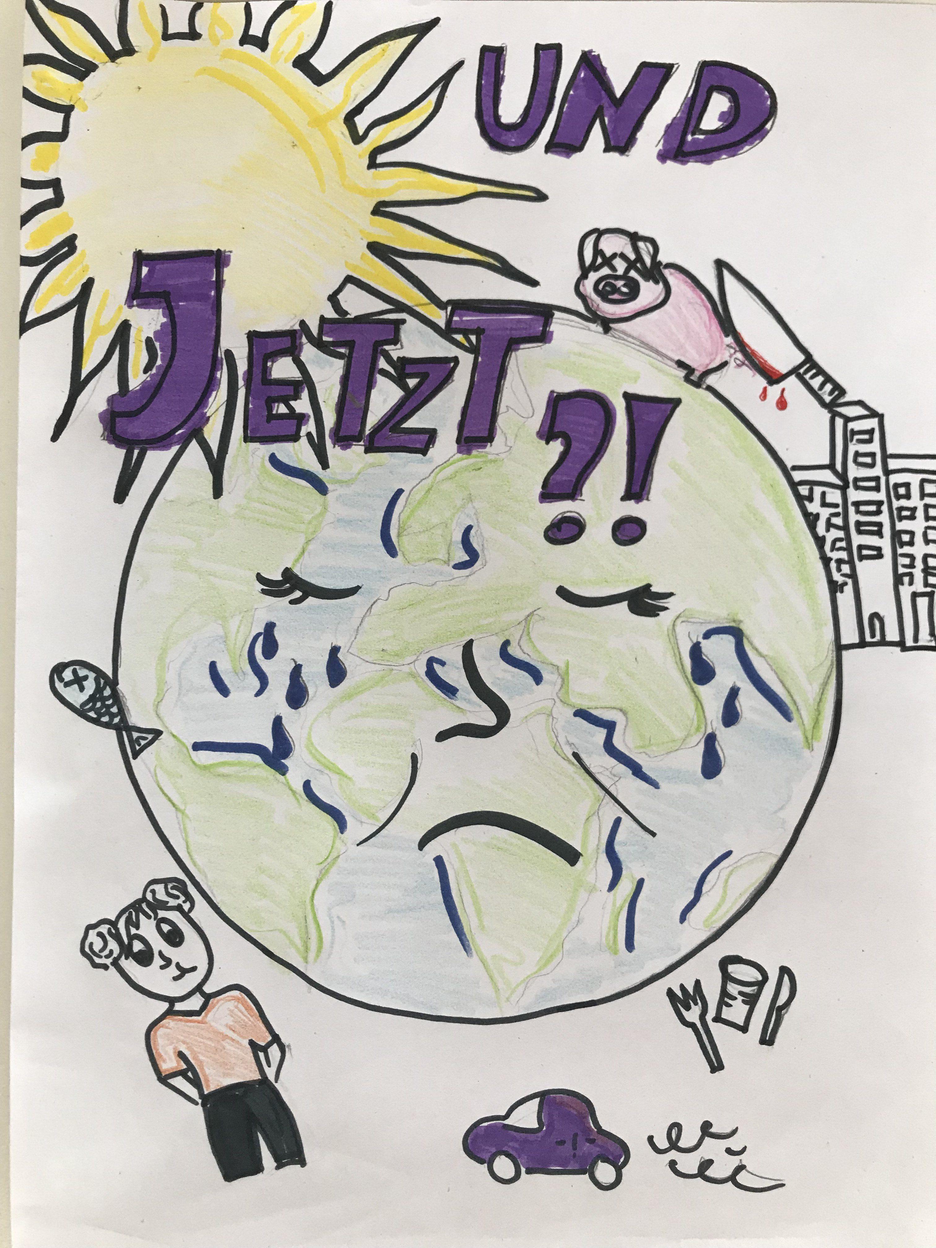 Es ist eine Zeichnung von der Erde und verschiedenen Klima- und Umweltpolitischen Themen zu sehen