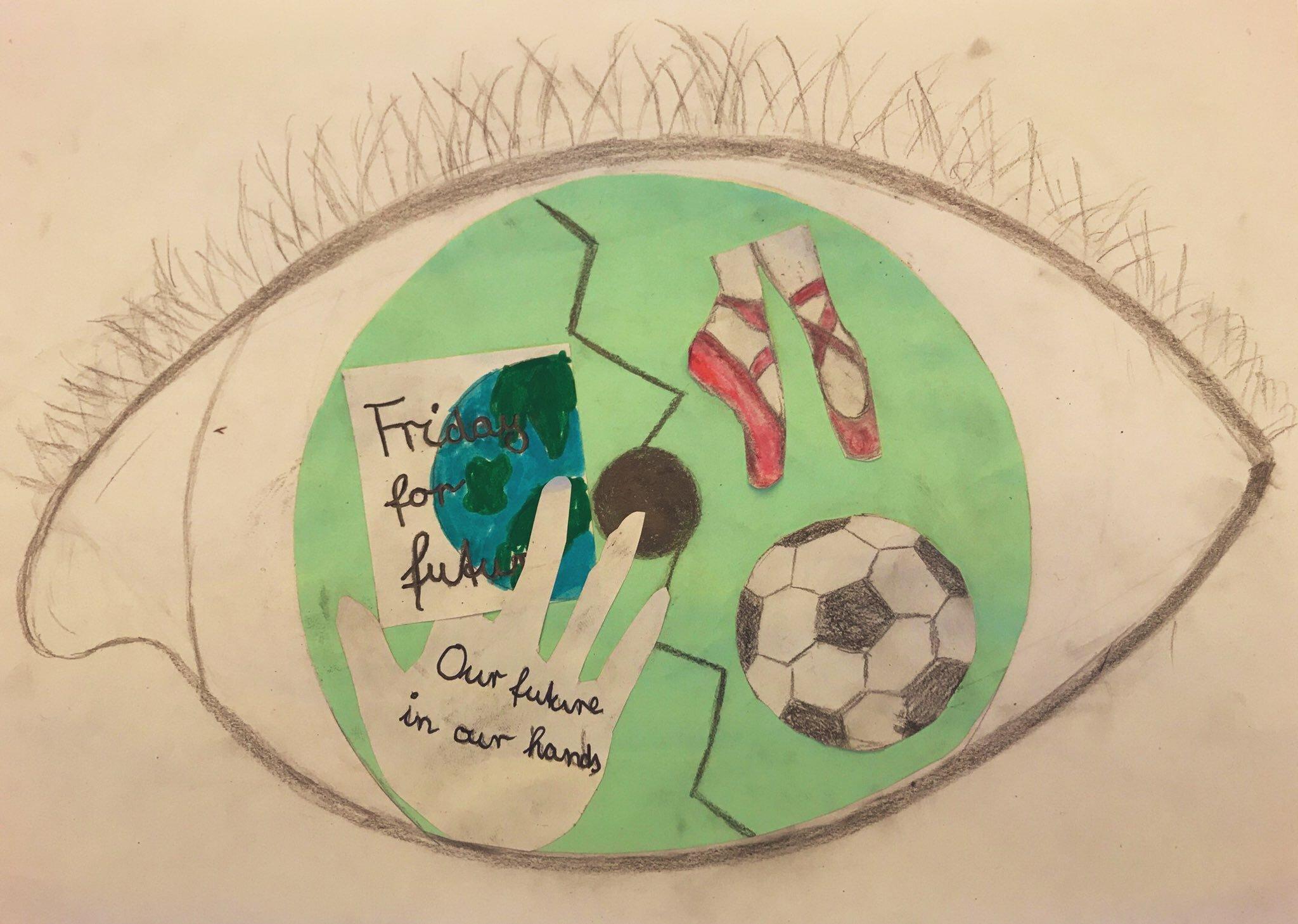 Es ist eine Zeichnung zu Umwelt- und Sozialpolitischen Themen zu sehen.