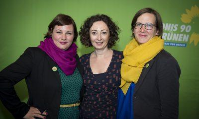 Antje Kapek, Ramona Pop und Silke Gebel auf dem Frühjahrsempfang der Fraktion im Zentrum für Kunst und Urbanistik