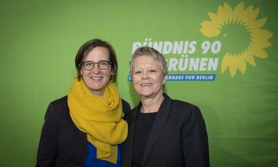 Silke Gebel und Sabine Bangert auf dem Frühjahrsempfang der Fraktion im Zentrum für Kunst und Urbanistik