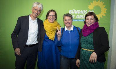 Silke Gebel, Monika Herrmann und Antje Kapek auf dem Fraktionsfrühjahrsempfang 2019 im Zentrum für Kunst und Urbanistik