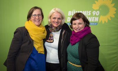 Silke Gebel, Regine Günther und Antje Kapek auf dem Fraktionsfrühjahrsempfang 2019 im Zentrum für Kunst und Urbanistik