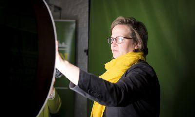 Silke Gebel in der Europa-Fotobox auf dem Fraktionsfrühjahrsempfang 2019 im Zentrum für Kunst und Urbanistik