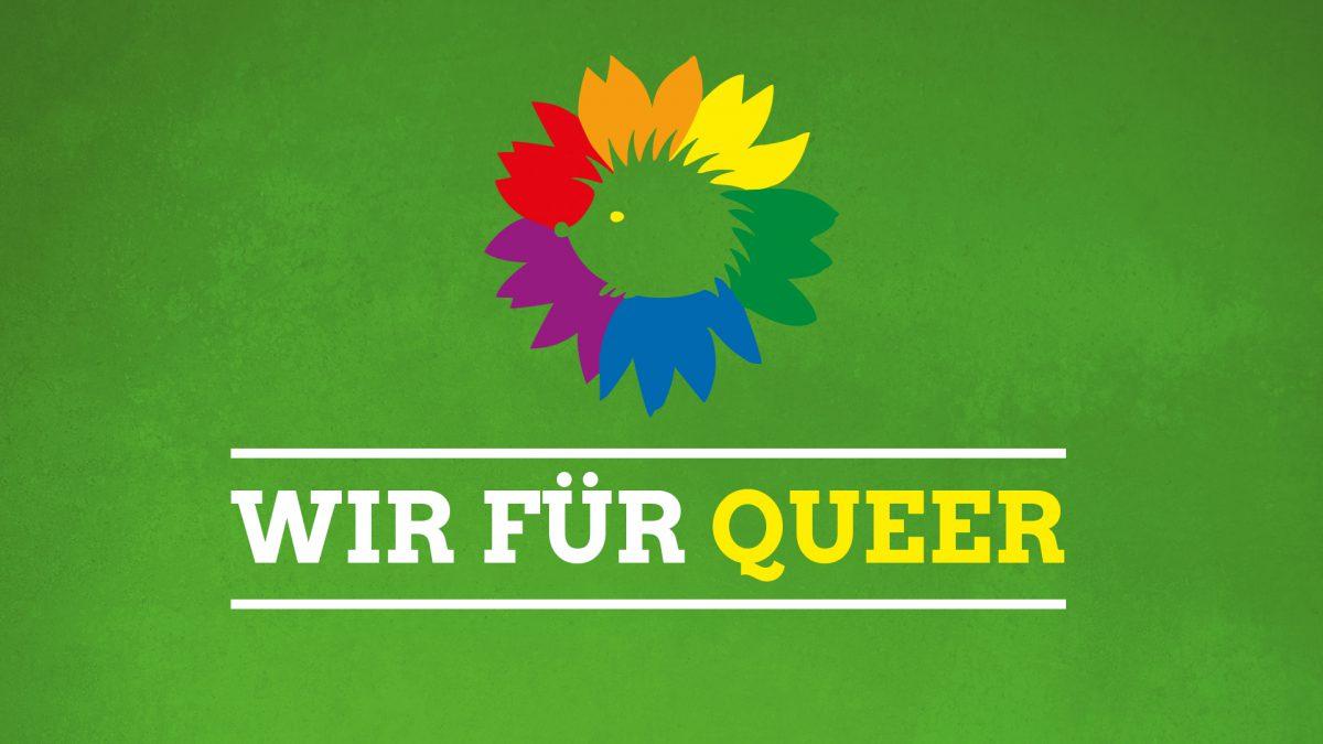 """Vor einem grünen Hintergrund ist ein buntes Igel-Logo und der Schrifzug """"Wir für Queer"""" zu sehen"""