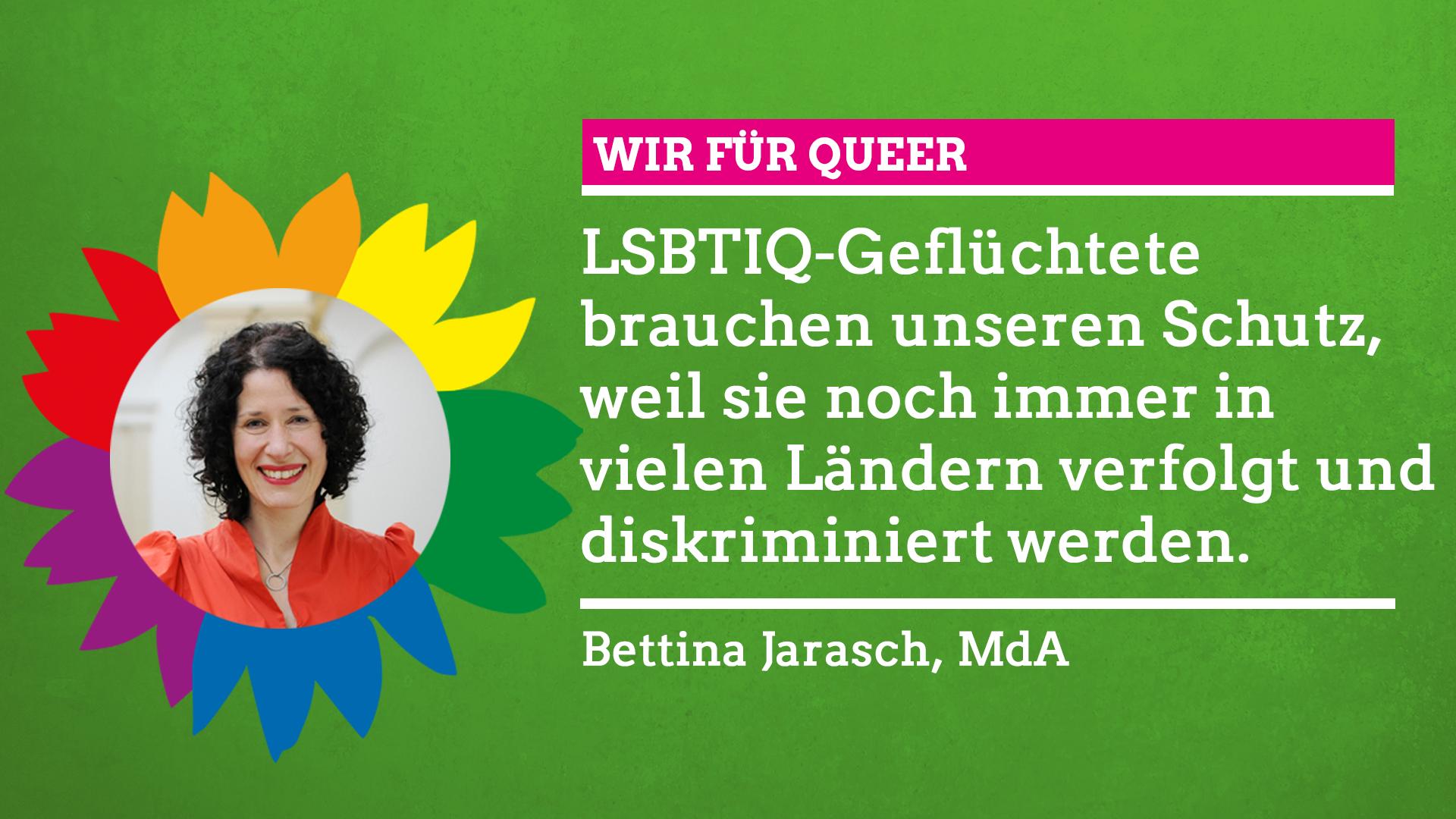 """Bettina Jarasch sagt im Rahmen unserer Grünen Regenbogenwochen: """"Wir für Queer!"""""""