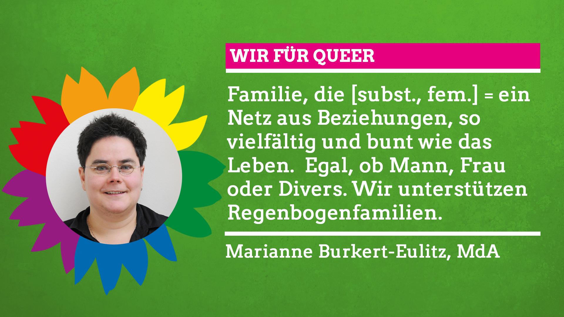 """Marianne Burkert-Eulitz sagt im Rahmen unserer Grünen Regenbogenwochen: """"Wir für Queer!"""""""
