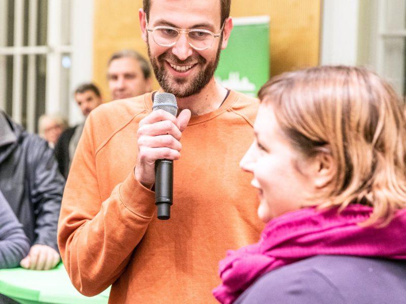 Antje Kapek und Georg Kössler sprechen beim Grünen Herbstempfang im Berliner Abgeordnetenhaus