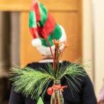 Es ist ein grüner Tannenzweig und im Hintergrund eine grün-rot geringelte Weihnachtsmütze zu sehen
