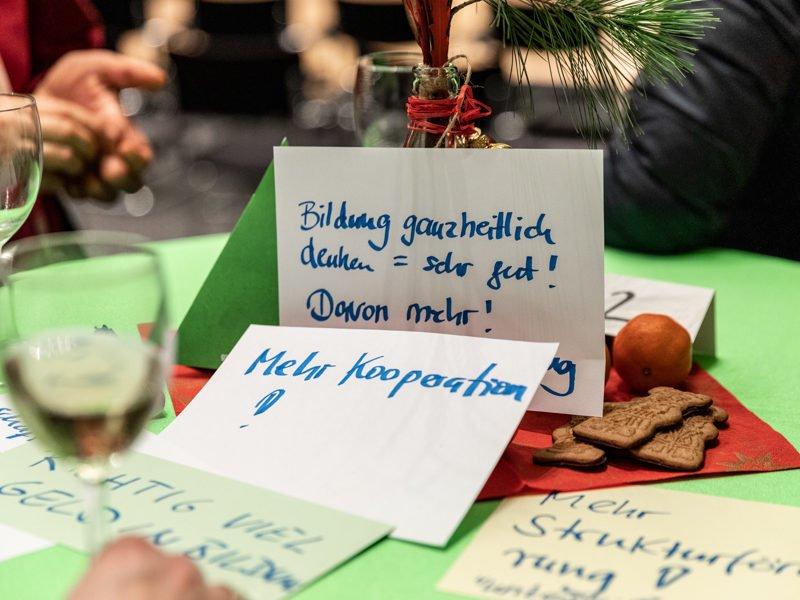 Es sind Karten zu sehen, auf denen Wünsche über die Zukunft der Berliner Bildung geschrieben sind
