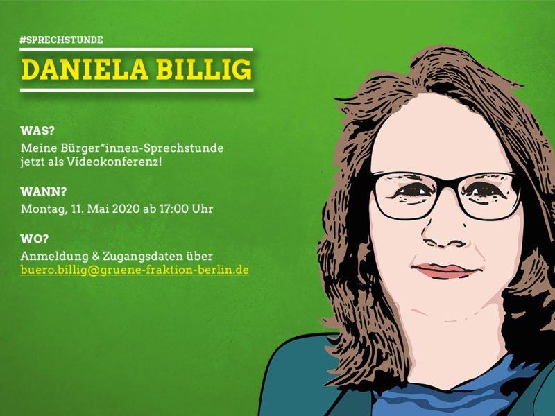 Grafik mit einem Portrait von Daniela Billig und Daten zur Sprechstunde, die im Artikel wiederholt werden.