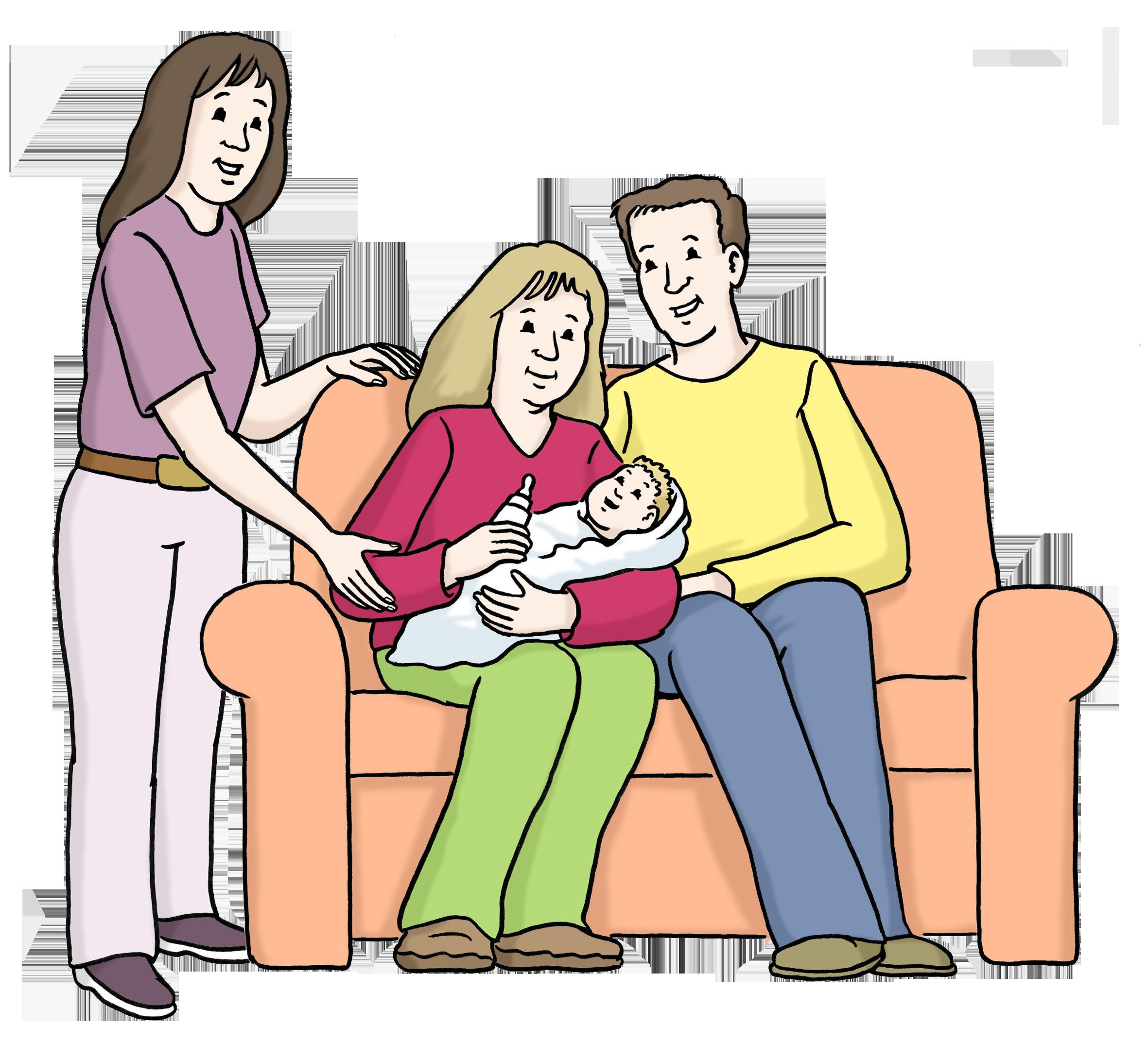 Eltern mit Baby und Asisstenz