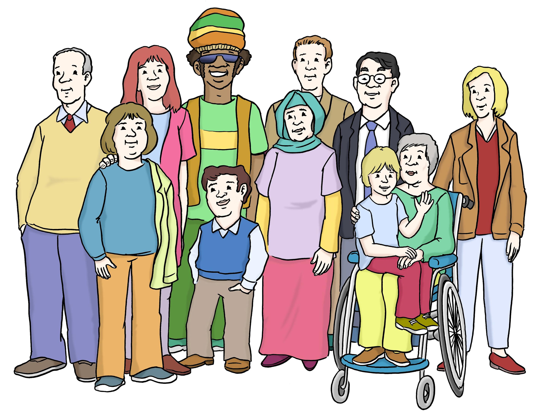 inklusion - Gruppe mit verschiedenen Menschen