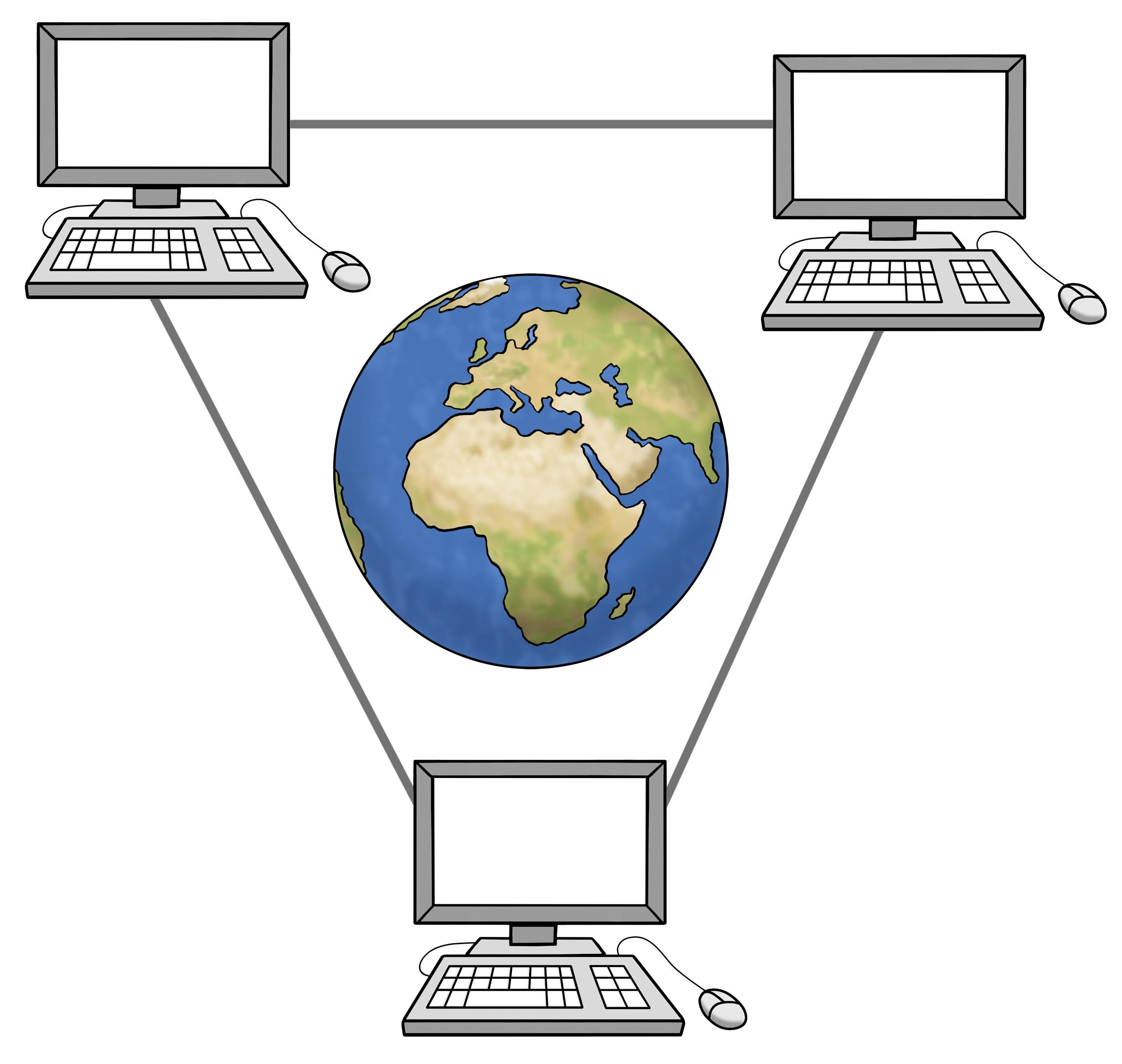 Computer durch Internet verbunden, in der Mitte ein Globus