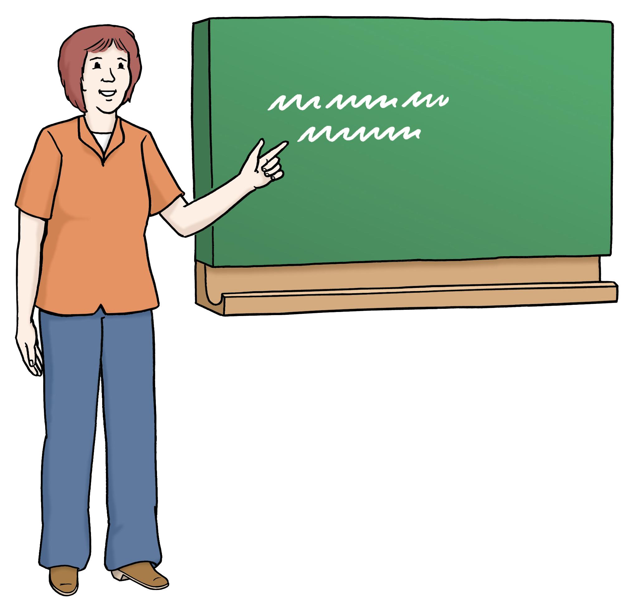 Lehrerin vor Tafel
