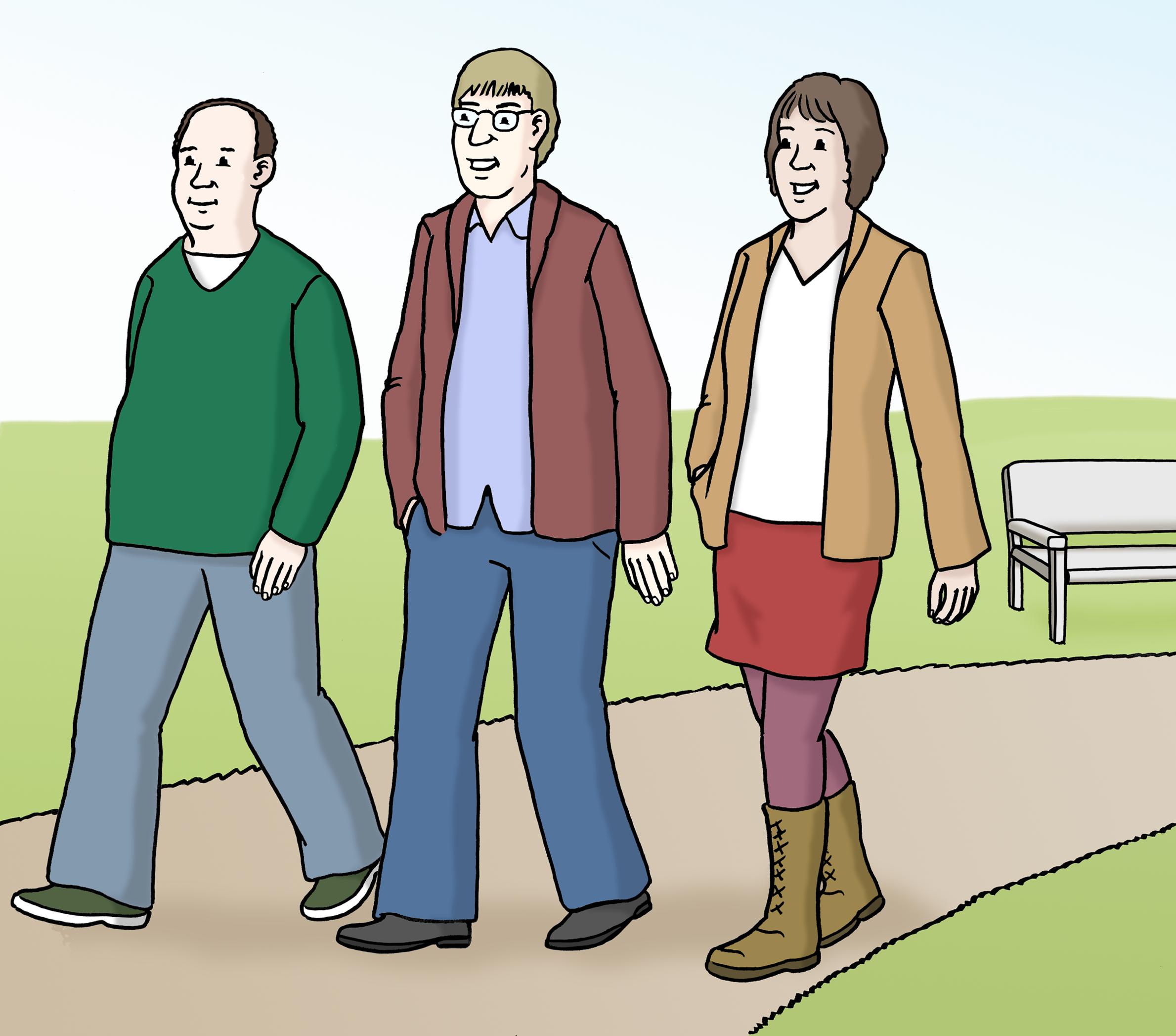 Drei Menschen, die Spazieren gehen